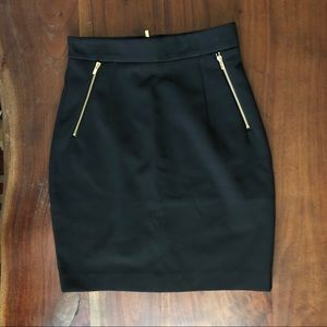 Black Pencil Skirt with Gold Zipper Details